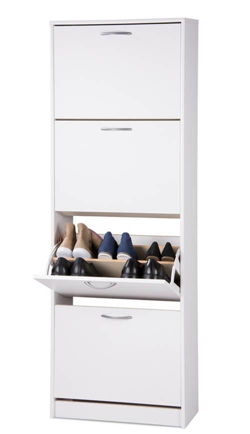 Bílý botník na 24 párů bot