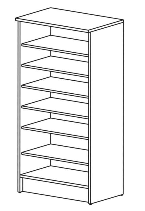 Nákres skříňového botníku