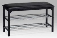 Černý kovový botník s polstrovaným horním sedátkem