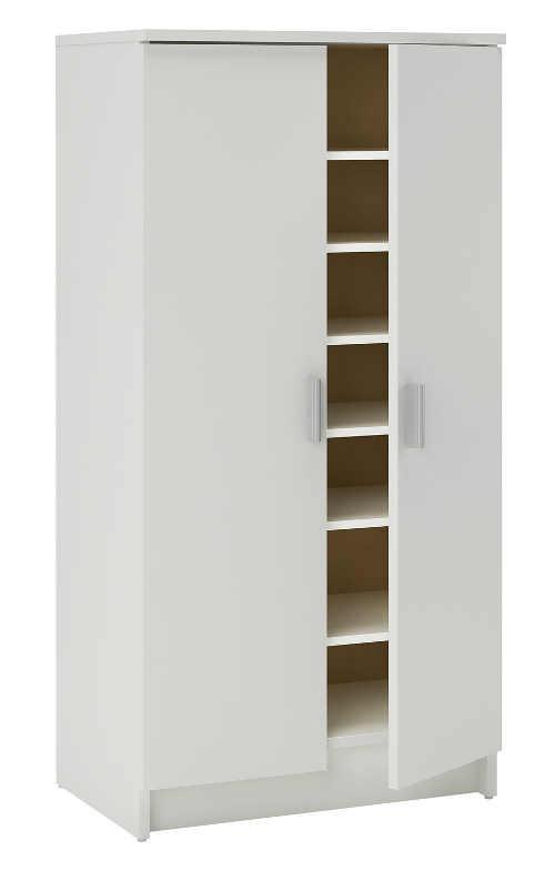 Perleťově bílý skříňový botník se dvěmi dveřmi