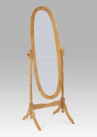 Dřevěné oválné výklopné zrcadlo na stojánku