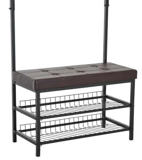 Kovový botník s koženou lavici pro posezení