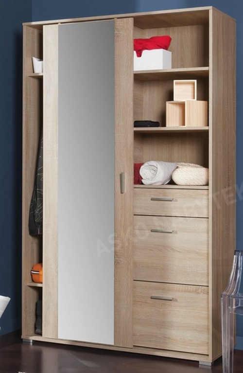 Praktická předsíňová skříň s úložnými prostory i zrcadlem