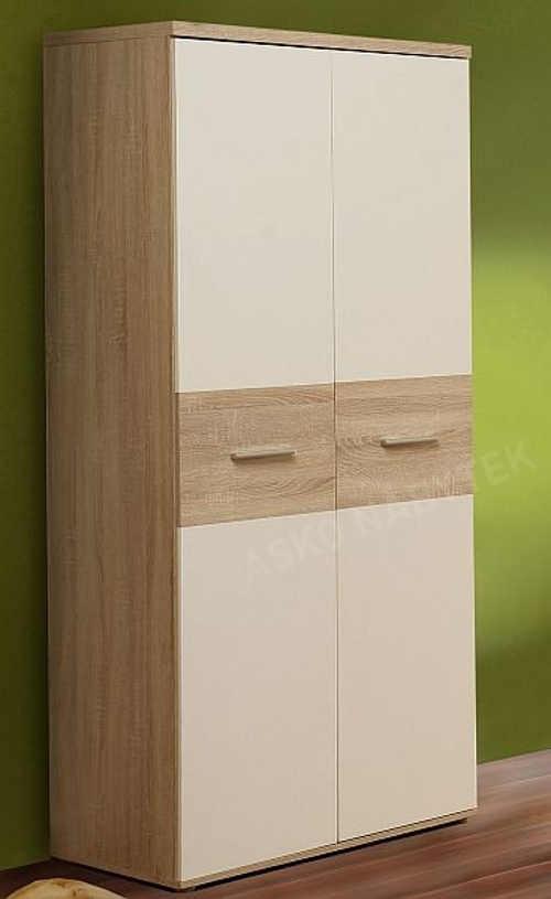 Dvoukřídlá skříň kombinace dřevěný dekor bílá barva