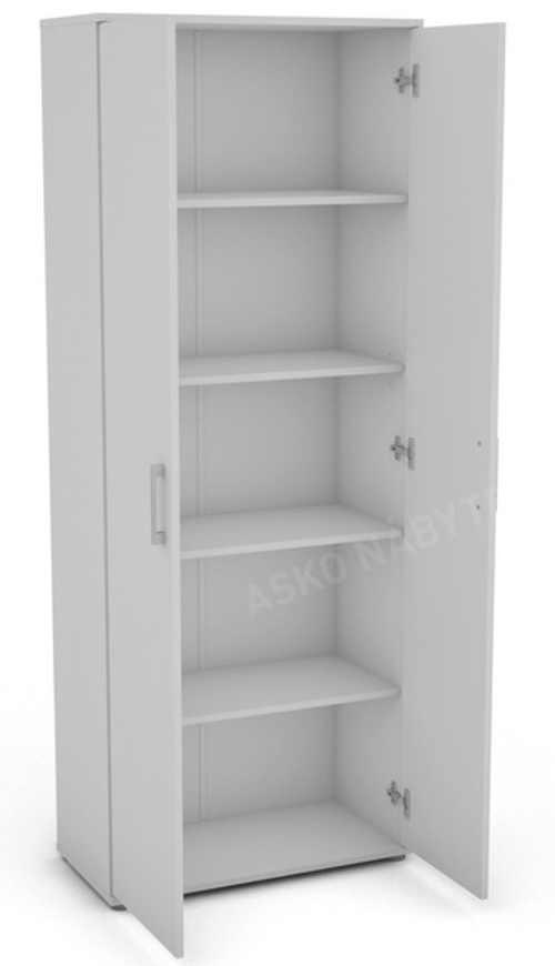 Jednoduchá víceúčelová policová skříň bílé barvy