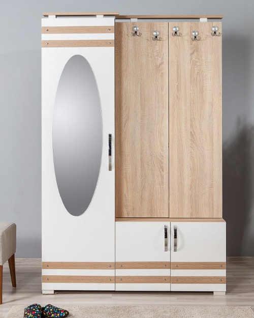 Nábytek do předsíně kombinace habrové dřevo a bílá