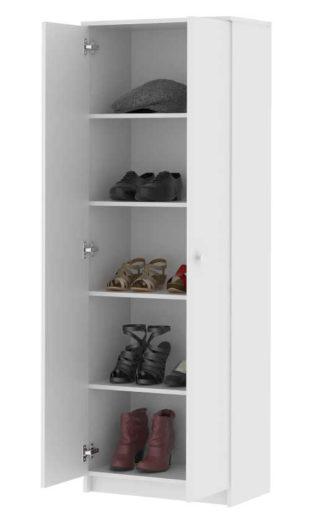 Dvoukřídlý skříňový botník v bílém barevném provedení