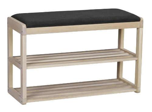 Otevřený dřevěný policový botník s polstrovanou lavicí