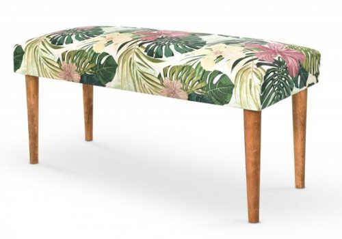 Čalouněná lavice s květinovým potahem