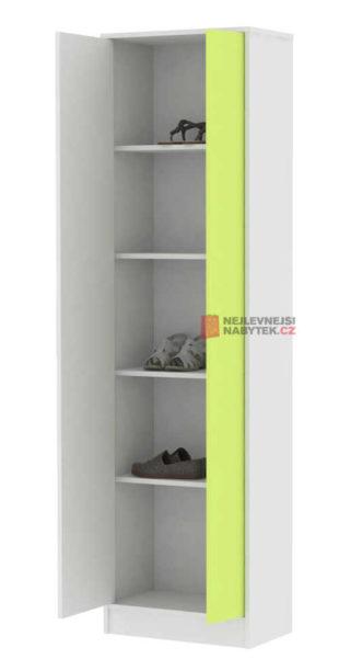 Vysoký skříňový botník Rodney bílo-zelené provedení