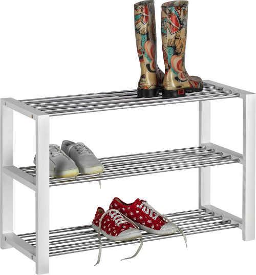 Regál na boty v kombinaci bílá a chrom