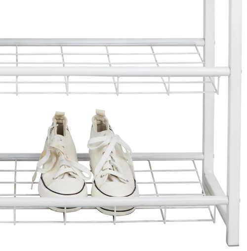 botník v podobě regálu v bílé barvě