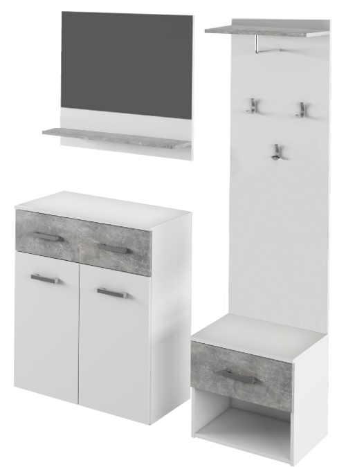 Sestava nábytku do předsíně kombinace bílé barvy a dekoru betonu