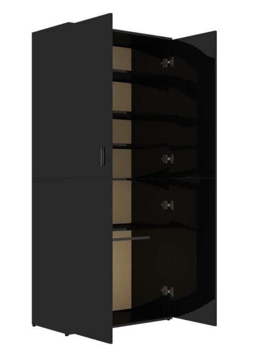 Černá lesklá šatní skříň výška 178 cm