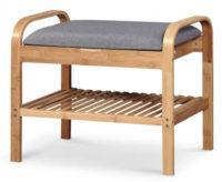 Jednoduchý bambusový botník s čalouněnou lavicí